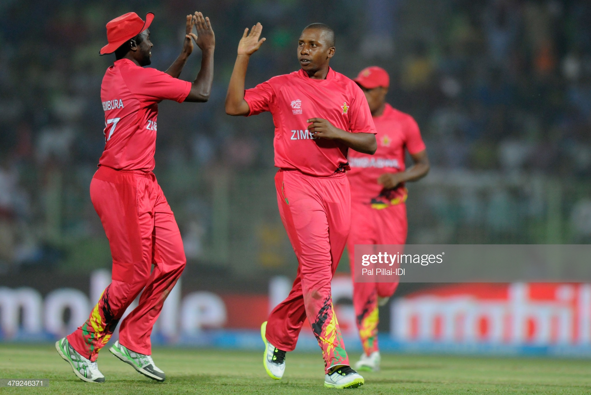 SYLHET, BANGLADESH - MARCH 17: Tinashe Panyangara of Zimbabwe celebrates the wicket of Andrew Poynter of Ireland during the ICC T20 World Cup match between Ireland and Zimbabwe played at Sylhet International Cricket Stadium on March 17, 2014 in Sylhet, Bangladesh. (Photo by Pal Pillai-IDI/IDI via Getty Images)