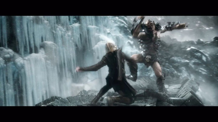 Legolas, elvish Prince of the Friendzone, fighting an orc named Bolg.