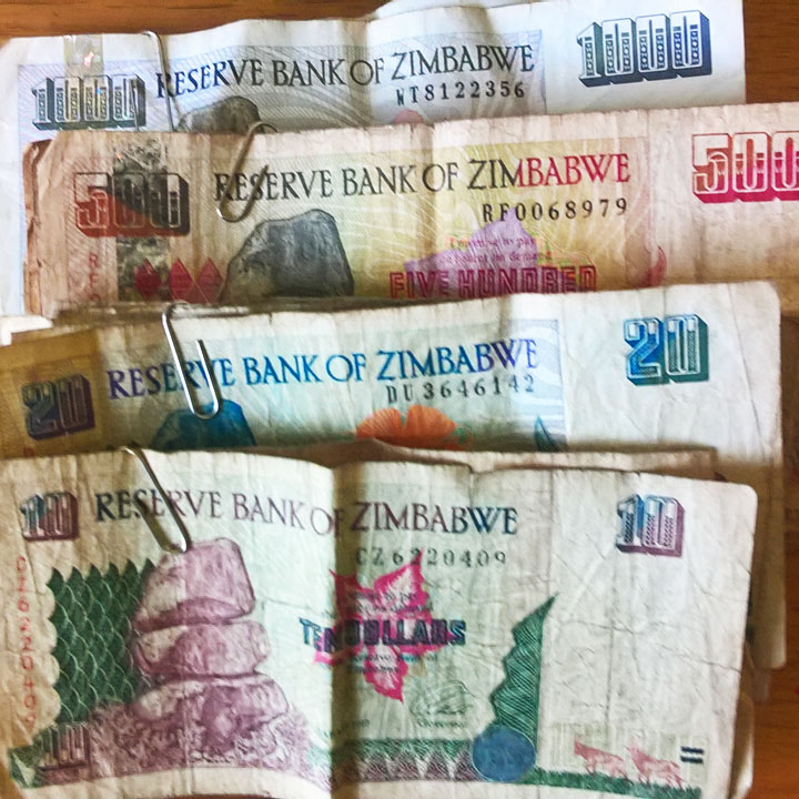 Zimbabwe dollar bills